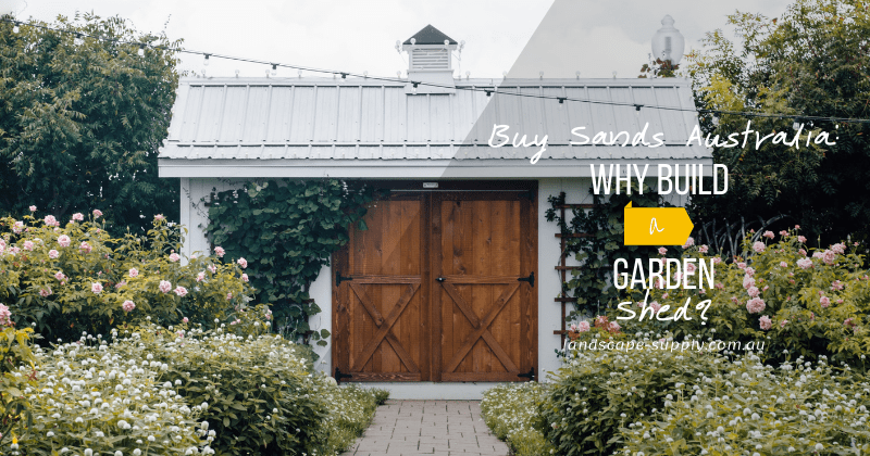 garden pathway to a white garden shed with wooden doors